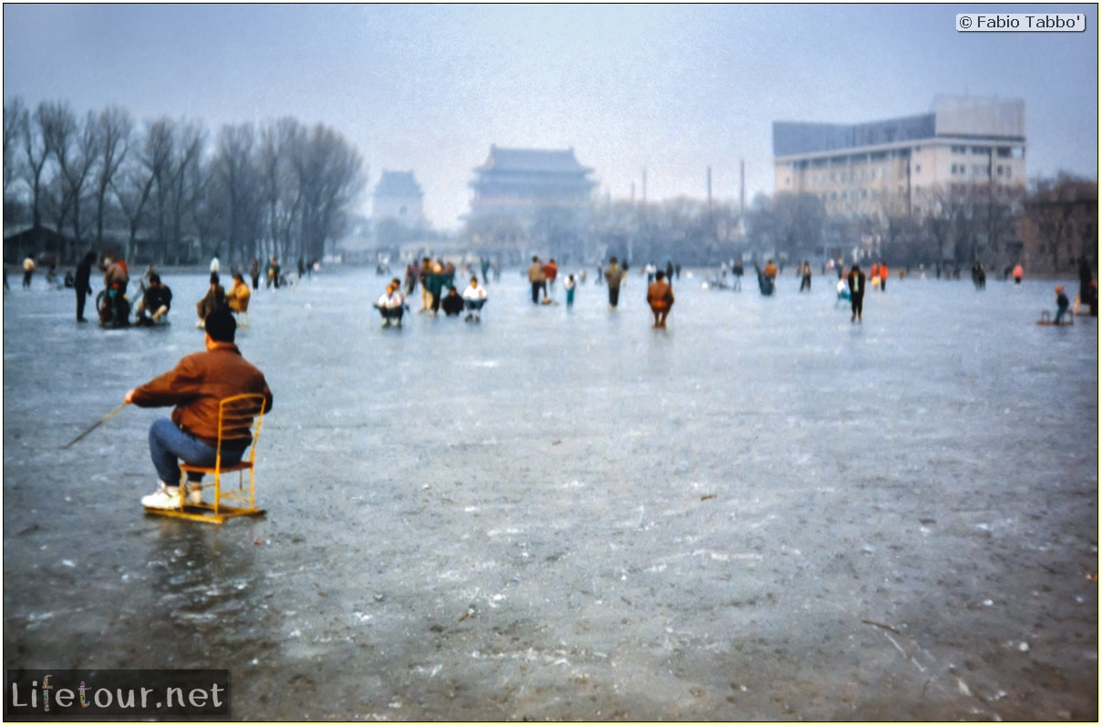 Beijing (1993-1997 and 2014) - Tourism - Behai Park - skating and swimming in frozen lake (1994) - 241