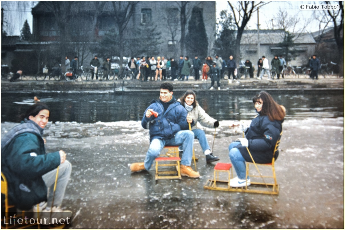 Beijing (1993-1997 and 2014) - Tourism - Behai Park - skating and swimming in frozen lake (1994) - 242