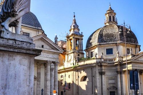 Italy-Rome-Piazza-del-Popolo-Chiese-SM-Miracoli,-SM-Montesanto,-SM-del-Popolo-28 COVER