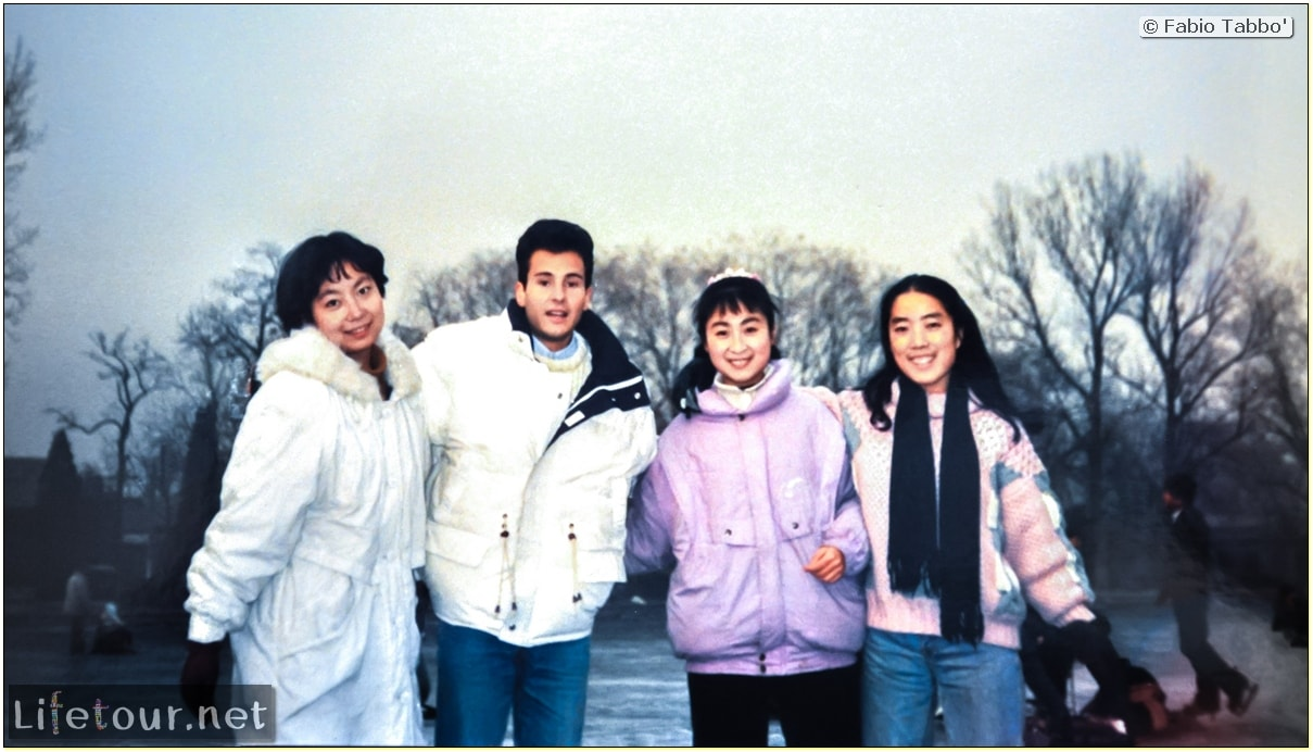 Beijing (1993-1997 and 2014) - Tourism - Behai Park - skating and swimming in frozen lake (1994) - 233
