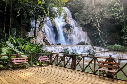 Laos-Tourism-Kuang-Si-waterfalls-Bottom-of-the-falls,-bears-and-natural-swimming-pools-185 COVER